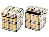 #9: RED HOT Premium Designer Foldable Storage Stool Set of 2