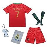 Portugal #7 Cristiano Ronaldo New Heim Fußball Kinder Trikot Hose und Socken (22 (5-6 Jahre))