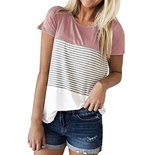 58f8663a209b4e LIKELYY Women Short Sleeve Triple Color Block Stripe T-Shirt Casual Blouse  (M,