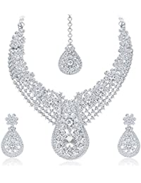 Sukkhi Glorious Rhodium Plated AD Necklace Set For Women