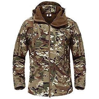 TACVASEN Mens Hunting Jacket Waterproof Camouflage Softshell Fleece Jacket CP Woodland