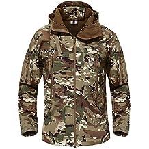 e97bff49567 TACVASEN Hombres Impermeable Chaqueta Softshell con capucha abrigo al aire  libre Para el senderismo