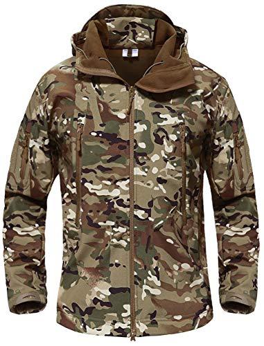 TACVASEN Wasserdicht Herren Jagdjacke Outdoor Fleece Jagd Jacke Camo Waterproof Fleecejacke Men's Camouflage Jacket Woodland (Jacke Fleece-camouflage)
