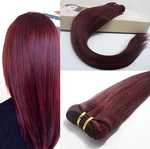Romantic Angels®18''(45cm) Remy longue ligne droite prolongation de cheveux humains de trame 100g/bundle Bordeaux (#99J)