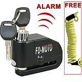 FD-MOTO 110dB Alarm Brake Disc Lock Anti-theft 7mm Pin Security Lock Black +