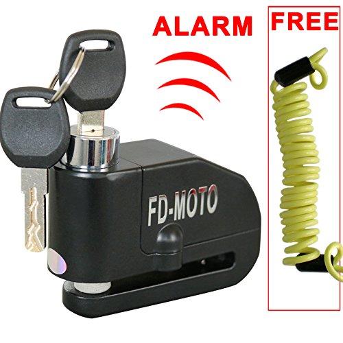 FD-MOTO 110dB Candado de Disco Moto con Alarma Acero 7mm con Cable 1.5M Bloqueo de Moto Motocicleta Antirrobo - Noir