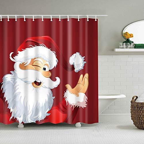 Roter Hintergrund Weihnachtsdekoration 1 Santa Claus Avatar Lustiger Ausdruck Weißer Bart mit Hut 3D-Digitaldruck feuchtigkeitsbeständige Schimmel nicht verblassen Badezimmerzubehör +12 Haken