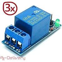 AZDelivery Módulo de relé 5V con optoacoplador para Arduino 3X 1-Relais Low-Level-Trigger
