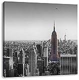 traumhafte Empire State Building schwarz/weiß, Format: 40x40 auf Leinwand, XXL riesige Bilder fertig gerahmt mit Keilrahmen, Kunstdruck auf Wandbild mit Rahmen, günstiger als Gemälde oder Ölbild, kein Poster oder Plakat