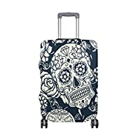 MyDaily Sugar Skull with Floral Luggage Cover Fits 18-32 inch Suitcase Spandex Travel Protector