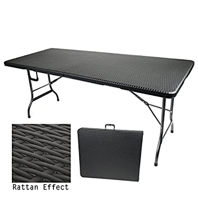 6ft Blow Moulded Folding Trestle Table Camping Garden Dining Rattan Effect