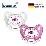 Dentistar® Silikon Schnuller 2er Set inkl. 2 Schutzkappen - Nuckel Größe 1 von Geburt an, 0-6 Monate - zahnfreundlich und kiefergerecht | Mila