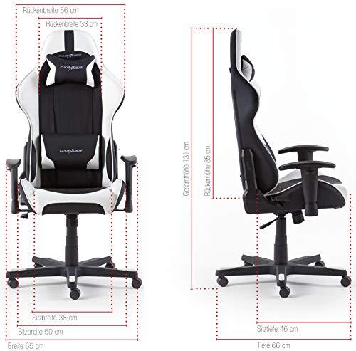 DX Racer6 Gaming Stuhl, Schreibtischstuhl, Bürostuhl, Chefsessel mit Armlehnen, Gaming chair, Gestell Kunststoff, 78 x 52 x 124-134 cm, Kunstleder PU schwarz / weiß - 6
