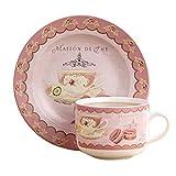 Von Hand gezeichnet English Style Kaffeetasse , Teetasse Mit Teller, Rosa