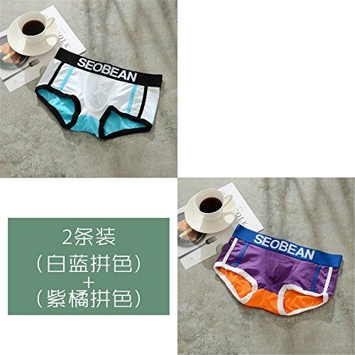 Unterwäsche Baumwolle Jugend Niedrige Taille Boyshort Atmungsaktiver Sport Men's Ecke Komfortabler Atmungsaktiv 2 Paar, Weiß, Lila, M (Aus Boyshort Seide)