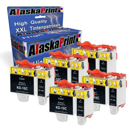 Premium 10er Set Druckerpatronen Kompatibel für Kodak 10 XL Tintenpatronen für Kodak ESP3 ESP5 ESP7 ESP9 Easyshare 5210 5220 5230 5250 3200 5500 5100 5300 6150 7250 3250 druckerpatronen (Schwarz , Black , BK , Color , Farbig) 5x10b+5x10c-kd - Tinte 10 Drucker Kodak