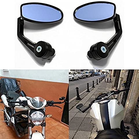 Universal Motorcycle Motorbike Scooter Bar Adjustable End Rearview Mirrors Fit 7/8
