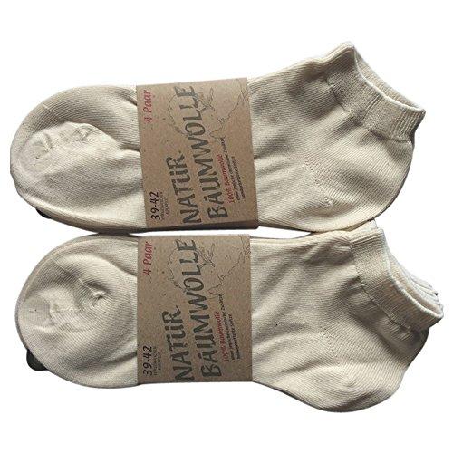 8 Paar Natur Bio 100 % Baumwoll-Sneaker Socken Füsslinge ohne Naht Kochfest (39-42)