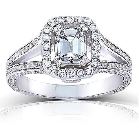 Smeraldo, taglio diamantato, Anello solitario 1/4 carato (ctw) 3 in oro bianco 18 k, con certificato)