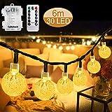 Tobbiheim LED Lichterkette Batteriebetrieben Kristall Kugeln, 30er LED 6 Meter Außenlichterkette Wasserdicht Beleuchtung mit Fernbedienung für...
