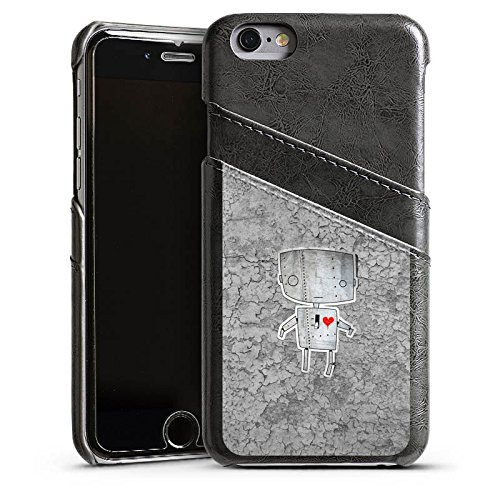 Apple iPhone 5s Housse Étui Protection Coque Robot C½ur Graphique Étui en cuir gris