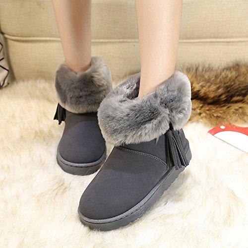 FLYRCX Autunno e Inverno Snow Boots lady tubo corto smerigliare la levigatura infiorescenza staminifera impermeabile e anti slip caldo cotone stivali C