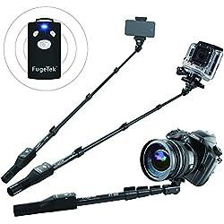 Fugetek Professional Bluetooth Selfie Stick for iPhone 6S/6S Plus/6/6 Plus, iPhone 4 5 5S 5C, Android, GOPRO, Fotocamera compatta-Nero