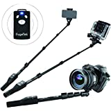 """Fugetek 49"""" Professional Selfie Stick, Wireless Bluetooth Remote, iOS devices & Android phones, DSLR, Gopro, Ultra Extendable Monopod, Black"""