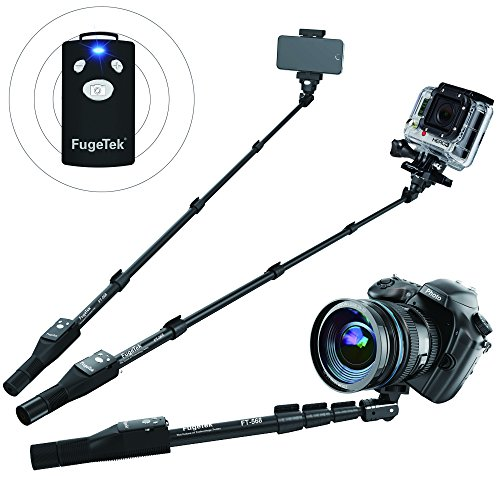 Fugetek Professional Selfie Stick Monopod With Removable Wireless Bluetooth Remote, iPhone, Android, Black