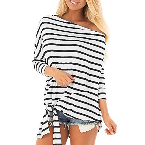 Damen Schulterfrei Langarm Oberteil Tops Frauen Casual Striped Schulterfrei Ärmel Bandage T-Shirt Pullover Bluse