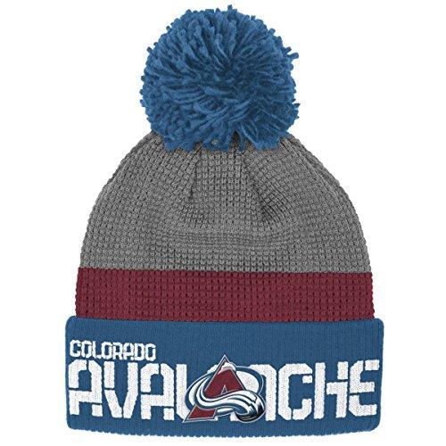 Colorado Avalanche Reebok NHL 2016 Center Ice Cuffed Knit Hat Hut w/ Pom