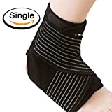 #3: Elove - Breathable Neoprene Sleeve Ankle Support and Compression Brace with Anti-Bacterial Fabric for Sport Injuries (Black and Blue, One Size)
