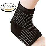 Elove - Breathable Neoprene Sleeve Ankle Support and Compression Brace with Anti-Bacterial Fabric for Sport Injuries (Black and Blue, One Size)