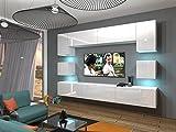 Neuheit Next 1 Wohnwand weiß schwarz hochglanz wohnzimmer möbel beleuchtung anbauwand TV-Schrank Wandschränke moderne Mediamöbel (Weiß MAT base / Weiß HG front AN/N/01_2017/W/HG/2, Wohnwand möbel ohne LED)