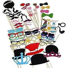 aokayy 60piezas decorativos para fotos DIY Kit para incluir tabaco Thistle coronas corbatas sombreros moscas barbas kissers gafas y Monocles para Funny fotos en boda cumpleaños Navidad y fiestas