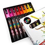 Uni Posca–Lot de 8 marqueurs d'art avec boîte cadeau, couleurs tons chauds - PC-3M