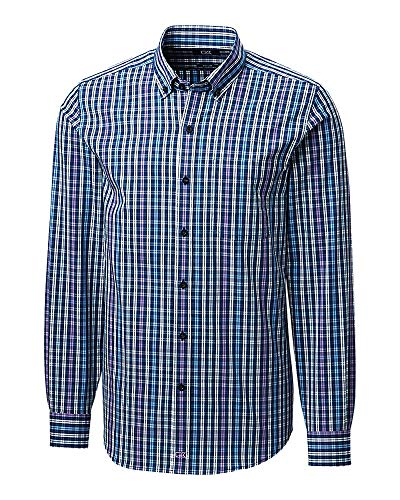 Cutter & Buck Herren Long Sleeve Anchor Double Check Plaid Tailored Fit Up Shirt Button Down Hemd, Majestic, Mittel -