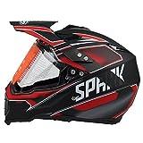 Woljay Cross Offroad Helm Motocross-Helm Fahrrad Für ATV MX Motocross Helm mit Sonnenblende Klar Rot Trupp (S)