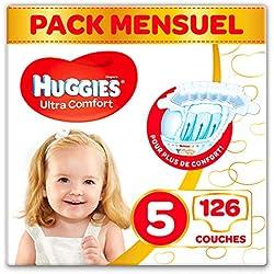 Huggies, Couches bébé Taille 5 (11-25 kg), 126 couches, Unisexe, Pack 1 mois de consommation, Ultra Comfort