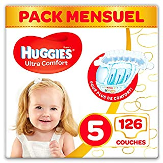 Huggies, Couches bébé Taille 5 (11-25 kg), 126 couches, Unisexe, Pack 1 mois de consommation, Ultra Comfort (B074KM5ZDR) | Amazon price tracker / tracking, Amazon price history charts, Amazon price watches, Amazon price drop alerts