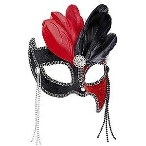 WIDMANN Genérico-Lobo bicolor rojo y negro con plumas mujer