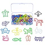 SODIAL Clips a papier creatifs en forme d'animal de multicolore pour Marque-page / agenda de Bureau / note d'ecole,12 Stlyes,60 Pieces