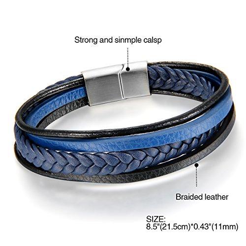 Imagen de cupimatch pulsera hombre cuero trenzada brazalete multicapa azul regalo navidad san valentin joyería de moda para amor alternativa