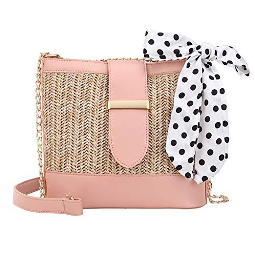 Dorical Frauen Stroh Umhängetasche, Damentasche Strohtasche,Sommer Strandtaschen handgewebte Cabrio Tote Crossbody Strandtasche für Damen Ausverkauf(Rosa)
