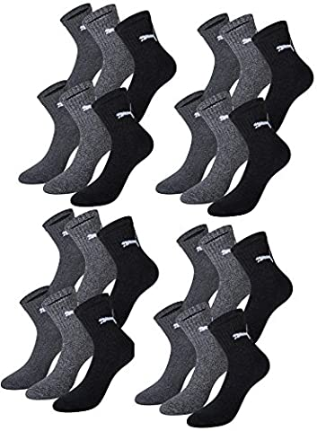 PUMA Unisex Short Crew Socks Socken Sportsocken MIT FROTTEESOHLE 12er Pack (anthracite / grey, 43-46)