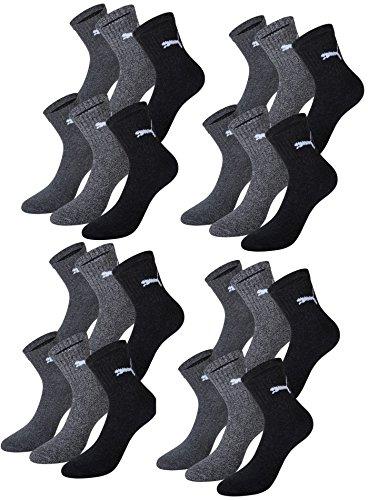 PUMA Unisex Short Crew Socks Socken Sportsocken MIT FROTTEESOHLE 12er Pack (anthracite / grey, 43-46) -