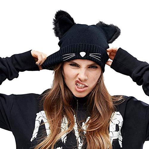 CNNIK Sombrero Oreja Gato Mujer Sombrero esquí cálido