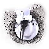 MAXGOODS Damen Bogen Haar Klipp Spitze Feder Minispitzenhut Fascinator Fantasie Party (Weiß)