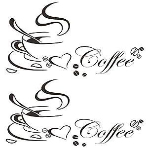 Tazza Di Caffè Adesivi Murali, 2 pezzi Cucina Impermeabile Adesivi Murali Parete Cafe Decorazione della Casa per Cucina Soggiorno Cafe Ristorante (65 * 50cm)