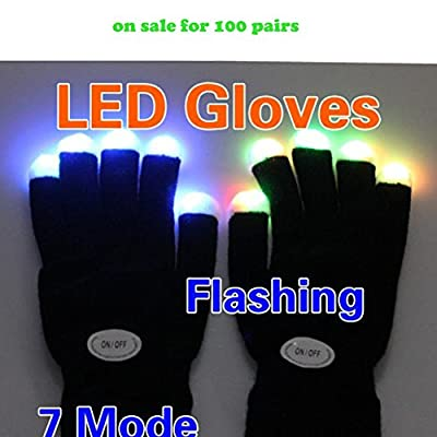 Vktech Flashing Gloves Glow 7 Mode LED Rave Light Finger Lighting Mitt Black - cheap UK light shop.